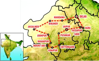 rajasthan tourism map with distance pdf