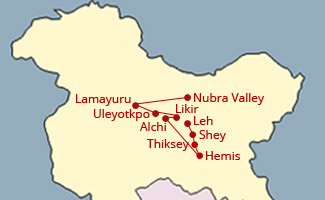 Hemis Festival Ladakh Tour Map
