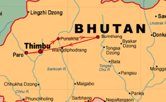 Paro Festival Bhutan Tour Map