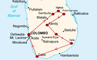 Sri Lanka Kandy Festival Tour Map